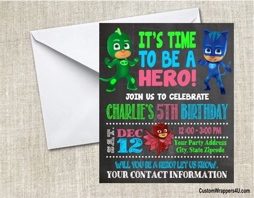 PJ Masks Birthday Party Invitation Chalkboard