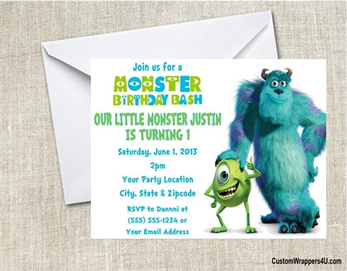 Birthday Invitation Monsters Inc Mike And Sulley