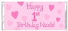 1st Birthday Candy Wrapper - Hearts
