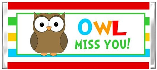 picture regarding Owl Miss You Printable known as Stop of the Faculty Calendar year Sweet Wrapper - Owl Miss out on On your own 2