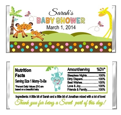 Baby Shower Candy Wrapper Fisher Price Jungle Animals