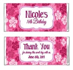 Birthday Candy Wrapper - Luau Hibiscus Flower Background
