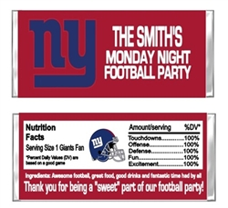 New York Giants Football Candy Wrapper Party Favor
