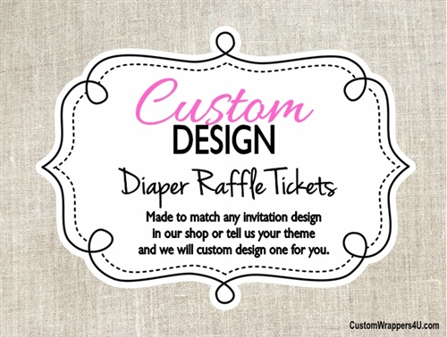Custom Design Made To Match  Baby Shower Diaper Raffle Ticket