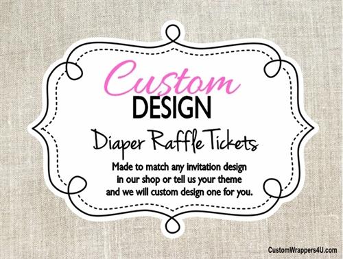 Custom Design Made to Match - Baby Shower Diaper Raffle Ticket