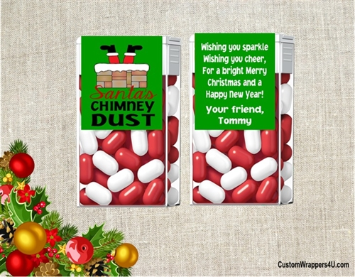 christmas tic tacs santas chimney dust green background color can be changed