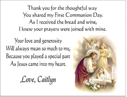 First Communion Thank You Card - Jesus & Child (boy or girl)