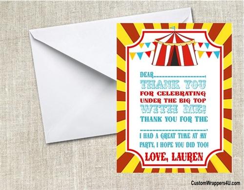 Birthday Thank You Card Carnival Circus