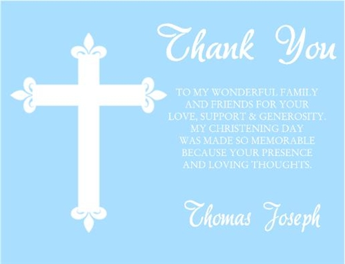 baptism first communion confirmation thank you card cross
