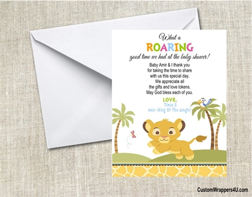 baby shower thank you card lion king