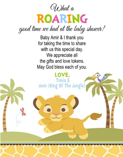 Baby shower thank you card lion king negle Choice Image