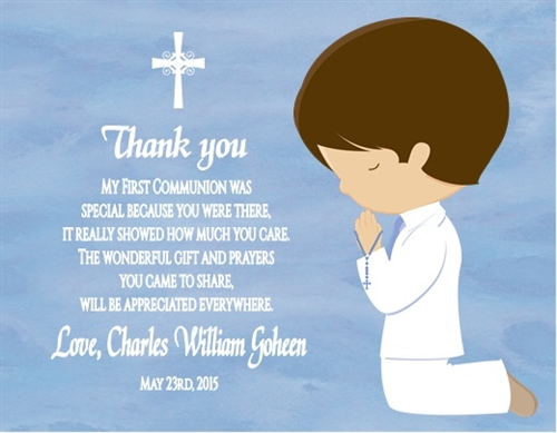 First Communion Thank You Card Kneeling Child Choose Gender Race Hair Color