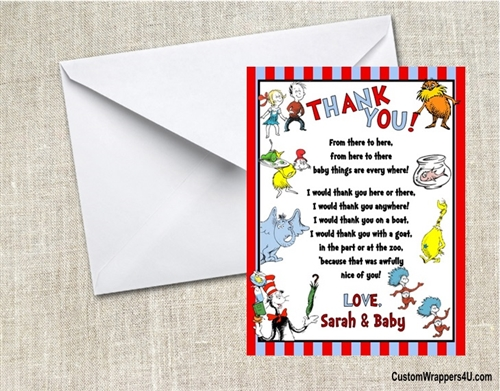 Baby Shower Thank You Card Dr Seuss Many Things