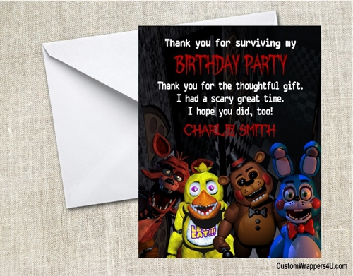 Five Nights At Freddys Thank You Card