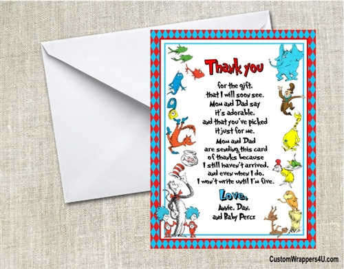 Baby Shower Thank You Card Dr Seuss Many Things 2