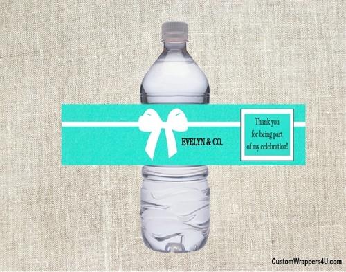bridal shower water bottle label tiffany