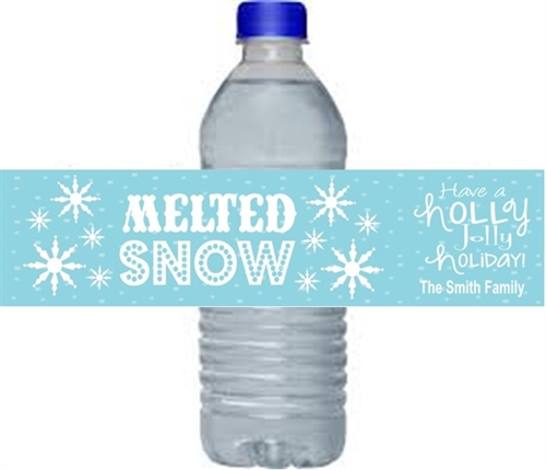 Top Christmas Water Bottle Label - Melted Snow PC42