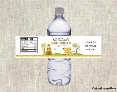 Baby Shower Water Bottle Label Lion King