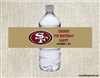 San Francisco 49ers Water Bottle Label Party Favor