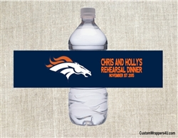 Denver Broncos Water Bottle Label Party Favor