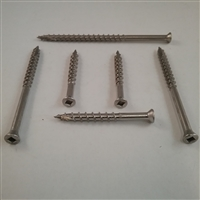 "STAINLESS DECK SCREW  #7 X 1-5/8""  Trim Head Square"