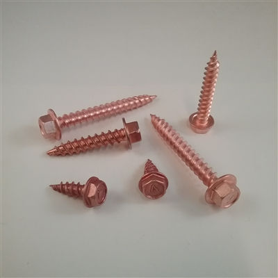 "SS Hex WH SMS  #8 X 1-1/2""  Copper Plated"