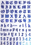 BLUE Calligraphy Stickers (A-Z/0-9)