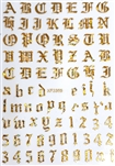 GOLD AB Calligraphy Stickers (A-Z/0-9)