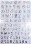 SILVER HOLOGRAPHIC Calligraphy Stickers (A-Z/0-9)