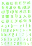 NEON GREEN Calligraphy Stickers (A-Z/0-9)