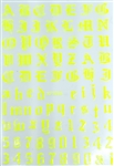 NEON YELLOW Calligraphy Stickers (A-Z/0-9)