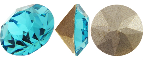 108829LTTURQGLA - Swarovski Crystal 6.2mm Chaton Crystals - Light Turquoise Glacier Blue Foiled - 1 Chaton