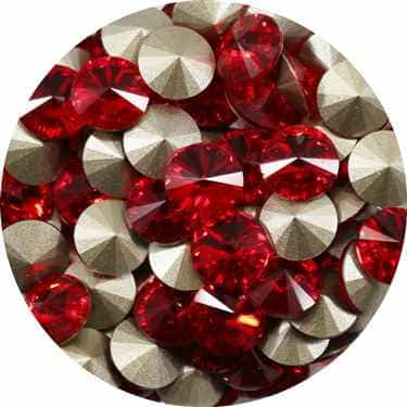 112239LTSIAM - Swarovski Crystal 8mm Chaton Crystals - Light Siam - 1 Chaton