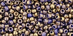 Toho 11/0 Round Gilded Marble Blue Seed Beads - 10 Grams