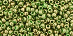 Toho 11/0 Round Gilded Marble Green Seed Beads - 10 Grams