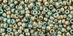 11/0 Toho 11TO1703 Round Gilded Marble Turquoise Seed Beads - 10 Grams