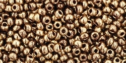 Toho 11/0 Round Gilded Marble Brown Seed Beads - 10 Grams