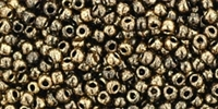 11/0 Toho 11TO1706 Round Gilded Marble Black Seed Beads - 10 Grams