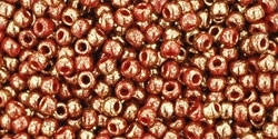Toho 11/0 Round Gilded Marble Red Seed Beads - 10 Grams
