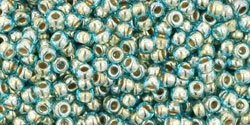 11/0 Toho 11TO990 Round Gold Lined Aqua - 10 Grams