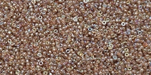 15/0 15CZ55019 Crystal Brown Rainbow Czech Coating on Miyuki Rocailles 5 Grams