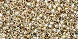15/0 Toho 15TO262 Round Inside Color Crystal/Gold Lined - 10 Grams