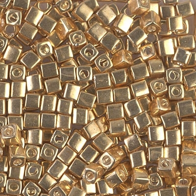 Miyuki Square 3MM Beads 3SB1052 Galvanized Gold - 10 Grams