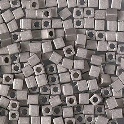 Miyuki Square 3MM Beads 3SB190F Matte Nickel Plated - 5 Grams