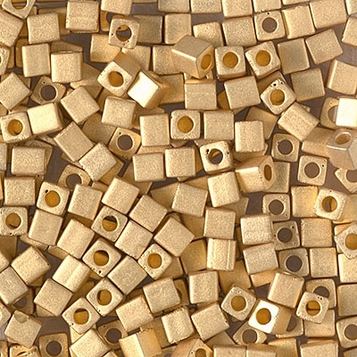 Miyuki Square 3MM Beads 3SB191F Matte 24kt Gold Plated - 5 Grams
