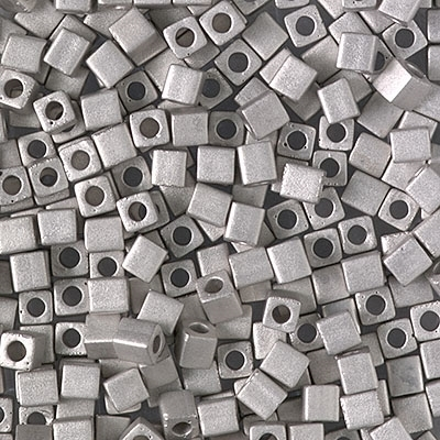 Miyuki Square 3MM Beads 3SB194F Matte Palladium Plated - 5 Grams