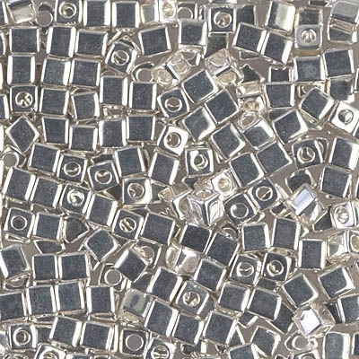 Miyuki Square 3MM Beads 3SB961 Bright Sterling Silver Plated - 5 Grams