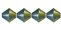 4mm Swarovski Crystal Iridescent Green Bicone Crystals 25 count