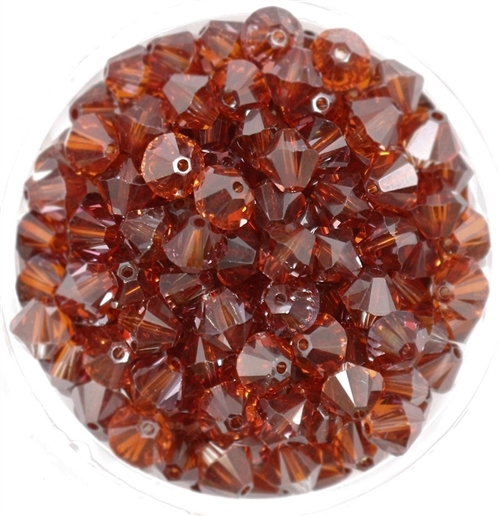 532806CRM - 6mm Swarovski Bicone Crystals - Crystal Red Magma - 25 count