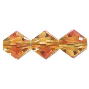 532806FIOP - 6mm Swarovski Bicone Crystals - Fire Opal - 25 count